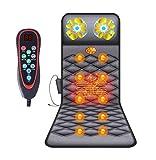 Tappetino Massaggiante con Calore - Letto Massaggiante con 10 Motori Massaggio Vibrante e Cuscinetti Riscaldanti per Schiena, Materasso Massaggiante per Tutto il Corpo