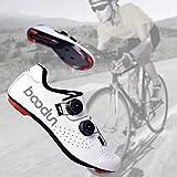 HAOLIN Scarpe da Bici da Corsa Scarpa da Ciclismo da Corsa da Uomo Fibra di Carbonio Fibbia A Doppia Spina Dorsale Scarpe da Bici Ultraleggere Sneaker da Bici Autobloccante,White-260mm