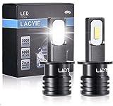 H3 LED,LACYIE CSP 60W 3000LM 6000K Bianco Lampadine LED Impermeabile IP68 Kit Sostituzione per Alogena Lampade e Xenon Luci, Fari Abbaglianti o Anabbaglianti per Auto e Moto - 9-36V(2 Pcs)