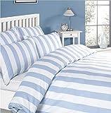 Louisiana Bedding Copripiumini Azzurro e Bianco 100% Cotone 200 Filati-Single