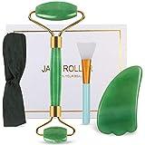 DigHealth Jade Roller, Rullo di Giada Naturale con Gua Sha Scrap Massager per Anti-invecchiamento, Collo Wrinkgless, Massaggio Viso, Bellezza, Circolazione Sanguigna (Verde)