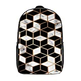 GKGYGZL Travel Laptop Backpack,3D Marble Ombre Pattern Modern Luxury Golden Geometric Lines And Cubes,Large Business Water Resistant Anti Theft Computer Daypack Slim Durable