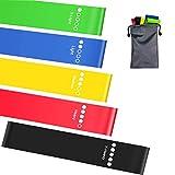 Elastici Fitness/Bande di Resistenza Fitness, [Set di 5] Fasce Elastiche di Resistenza di Lattice Naturale con 5 Diversi Livelli di Resistenza per Crossfit, Yoga, Pilates, Stretching
