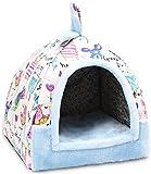 Soft Fresh Graffiti Figure Pet Nest Four Seasons Universal One-Use Dual-Use Removable Wash Small And Medium Velvet Cat Kennel Villa Warm Mat(Size : L(16 kg Inside Pet))