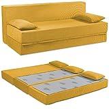 Baldiflex Divano Letto 3 Posti Modello Tetris in Poliuretano Rivestimento Sfoderabile e Lavabile, Colore Ambra