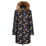 Xmiral Donna Giacca Trapuntato Cappotti Inverno Spessore Caldo Cappotto Slim Fit con cappucciato di Pelliccia Ecologica (S,1- Marrone)