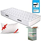 EVERGREENWEB - Materasso Singolo 75x190 in Waterfoam Alto 20 cm con Cuscino Memory Foam Gratis, Ortopedico, Rivestimento Bianco Effetto Massaggiante, Certificato IGNIFUGO UK Cigarette Test ANTIFIAMMA