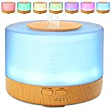 DOBO® Diffusore di aromi 4 in 1 umidificatore ad ultrasuoni aromaterapia purificatore di aria e colorata lampada di design 300ml o 500 ml - Diffusore con 7 Led relax design (500ML LEGNO)