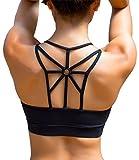 YIANNA Donna Reggiseno Sportivo Senza Ferretto Reggiseni con Imbottito Removibile Yoga Fitness Top Nero, UK-YA-BRA139-Black-M