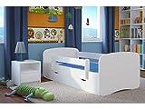 Letto per Bambini Singolo Bianco 70x140 80x160 80x180 con sponda anticaduta con barriera con Materasso cassettone Estraibile e Telaio a doghe per Bambini e Bambine - Bianco - 180x80