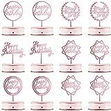 12 Pezzi Topper Torta Happy Birthday Topper Cupcake in Acrilico per Compleanno Plettri Torta Decorazioni per Festa di Compleanno Torta Dolce Pasticcini, 6 Stili (Oro Rosa Rosa)