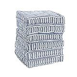 Nicola Spring Cuscino per Sedia - Imbottito con Design Effetto Materasso Trapuntato - a Righe Blu - 6 Pezzi