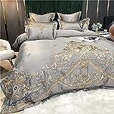 Exlcellexngce Copripiumino Matrimoniale,Summer Style Style Style Satin Luxury High-End Ricamo Lavato Seta Rete Red Bed Lino Duvet Cover Cover Duvet Biancheria da Letto-Lenzuolo_d_2,0 M Letto (4pcs)