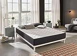 Elegance Confort Stylo Voltaire - Materasso a molle insacchettate e 26 cm di altezza, con viscoelastici e schiuma HR e 7 zone di comfort, 135 x 190 cm, bianco e grigio, letto matrimoniale