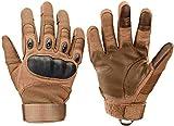 Xnuoyo Gomma Dura Knuckle Full Finger e Mezza Finger Gloves Guanti Touch Screen Guanti per Moto Ciclismo Caccia Arrampicata Camping (Marrone, Medium)