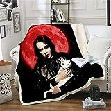 LIFUQING Coperta di Stampa 3D Cantante Marilyn Manson (Materasso Cally) Divano Mat Yoga Trapunta Divano per Casa Bambini -130X150 Cm