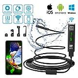 Endoscopio WiFi Telecamera Ispezione USB 2.0 Megapixel 1200P HD Boroscopio Snake Camera con 8 luci LED IP68 Impermeabile Semi-Rigido Cavo per Android e iOS, Tablet, Mac, Windows