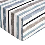 Amazon Basics - Lenzuolo con angoli in microfibra di prima qualità, 180 x 200 x 30 cm, blu a righe (coastal stripe)