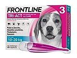 Frontline Triact, 3 Pipette, Cane M (10 -20 Kg), Antiparassitario per Cani e Cuccioli di Lunga Durata, Protegge il Cane da Pulci, Zecche, Zanzare, Pappataci e Leishmaniosi, Antipulci 3 Pipette
