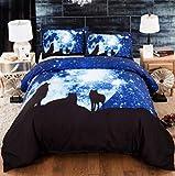 copripiumino matrimoniale 240 x 260,3D Galaxy Wolf Stampa Cover Duvet Leggero Microfiber Soft Trapunta Coperchio di qualità Premium Qualità Set di biancheria da letto 3 pezzi-1._220 * 240 cm.