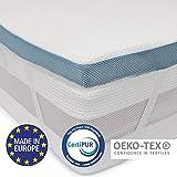 Dreamzie - Topper Memory Foam Singolo Matrimoniale 160 x 200 cm - 5 cm di Schiuma ad Alta Densità 45 kg / m3 - Rivestimento Ipoallergenico in Bamboo - Made in Europa - Certificato OEKO-TEX® e CertiPUR