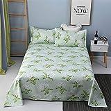 QXbecky Biancheria da letto in cotone vecchio greggio tre pezzi fogli di stampa e tintura verde 210x230 federa x2 233 (ispessimento) 210X230cmx3pcs