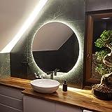 Artforma Specchio Rotondo da Bagno Controluce LED | 85 cm | su Misura | Personalizza Specchio Tondo da Parete Bagno | LED Premium | Colore LED - Bianco Freddo/Caldo | L82