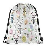 Garden Bunny Shopping Sport Drawstring Bags Borsa da palestra