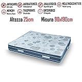 Gt Materassi - Materasso Singolo Astro 90x190 in Poliuretano Alto 25cm Costituito da 900 Molle Insacchettate - Memory a 9 Zone Alta 3cm