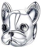 MariaFonte Bead Charm Cane Bulldog Francese Argento Sterling 925 Compatibile con Braccialetti e collane