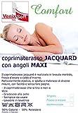 venixsoft Coprimaterasso Spugna Cotone Jacquard con Angoli Estendibili con Elastici, Singolo 80-85-90-95-100 x 190-195-200