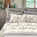 NuvolaNera Set completo lenzuola stampate in cotone 100% – per materassi fino a 25 cm. – 2 Piazze Matrimoniale - Foglie Beige