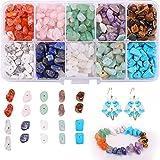 Perline di pietre preziose naturali,Set Fai da Te Bead,10 colori perline di pietre preziose,Utilizzato per gioielli fai da te, collane, bracciali, orecchini.(10 cells)