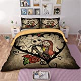 WONGS BEDDING Copripiumino Nightmare Before Christmas con 2 federe per Cuscini Copripiumino Set King Size 220 * 240 cm