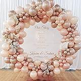 MMTX 100Pcs Palloncini Oro Rosa Decorazioni Matrimonio, Palloncini in Lattice Arco Ghirlanda Kit con Foglie di Palma per Addobbi Compleanno Battesimo Addio al Nubilato Feste Baby Shower Decorazioni