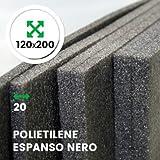 LAS021I LASTRA ESPANSO NERO IMBALLAGGIPER 120 X 200 CM SPESSORE 20 MM PER IMBOTTITURA SCATOLE