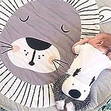 Blanketswarm - Tappeto per bambini, rotondo, morbido, arredamento per la cameretta dei bambini (90 x 90 cm), Cotone, Leone, 90cm=3FT