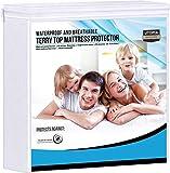 Utopia Bedding Premium 200 g / m2 100% coprimaterasso Impermeabile, coprimaterasso in Spugna di Cotone, Traspirante, Stile Aderente Elastico tutt'intorno (160 x 200 cm)
