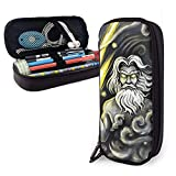XCNGG Astuccio portapenne Zeus Variety Face Towel Casual Leather Pencil Case Pouch Zippered Pen Box School Supply For Students Big Capacity Stationery Box Travel Makeup Pouch Bag