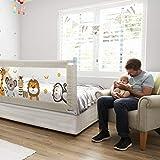 Fascol Barriera Letto Bambini, Sponda del Letto per Neonati Alzabile Verticalmente, Altezza Regolabile, 200 x 93 cm, 1 Sponda