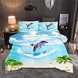 QXbecky Biancheria da letto spiaggia scenario marino copripiumino federa 3 pezzi re letto matrimoniale 230x260 cm letto singolo delfino 260x230 cm 3 pezzi