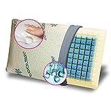 GEEMMA s.r.l. Cuscino Memory Foam REFRIGERANTE E Lavabile, Modello saponetta, Alto 13 cm con Tessuto rinfrescante Cooler Gel