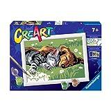 Ravensburger 28930 1 CreArt serie E - Cane e Gatto Dolce Sonno, Dipingere con i Numeri, Gioco Creativo per Bambine e Bambini, Età Raccomandata 7+