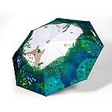weichuang Umbrella Miyazaki Hayao Anime Totoro Automatico ombrellone Pioggia for Le Donne Portable 3 Volte UV Umbrela Fumetto Parasol Ghibli Studio Ombrello (Color : Automatic Umbrella 2)
