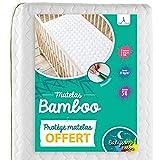 Babysom - Materasso Lettino Bambino Bambù + 1 Coprimaterasso Impermeabile OFFERTO   Per Neonato - 70x140cm - Sfoderabile - Altezza 12cm - Traspirante - Antiacari
