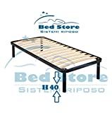 Bed Store Rete A DOGHE Strette Singola per Letto Singolo 80X180 con Piedi H40 Ortopedica Resistente