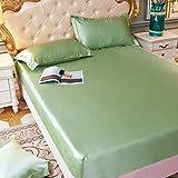 Lenzuola lisce seta ghiaccio estivo, copriletto monopezzo antiscivolo antipolvere, verde ambra 120 * 200 cm