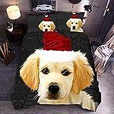 QXbecky Biancheria da letto Animali Gatti e Cani Doppio lupo 3D Trapuntato Federa 3 pezzi Letto matrimoniale King Hat Dog 245x220cm 3 pezzi