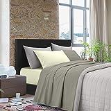 NuvolaNera Set completo lenzuola letto tinta unita bicolor cotone 100% – per materassi fino a 25 cm. – Piazza e mezza - Tortora/Avorio