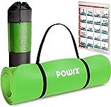 POWRX Tappetino Fitness Antiscivolo 190 x 80 x 1,5 cm - Ideale per Yoga, Pilates e Ginnastica - Extra Morbido e Spesso - Ecocompatibile con Tracolla e Sacca Trasporto + Poster (Verde)
